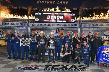 William Byron and Kyle Busch Motorsports celebrate in victory late at Texas Motor Speedway on June 10, 2016 after winning the NASCAR Camping World Truck race.
