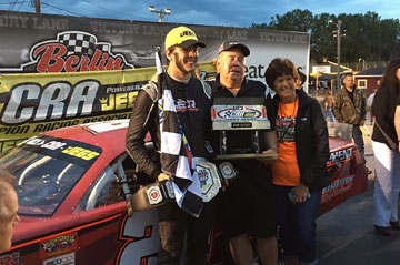 Erik Jones wins the 2016 Berlin 251 race at Berlin Raceway for the second year in a row using Bassett 15x10 Wide-5 Ulta Lite Wheels.